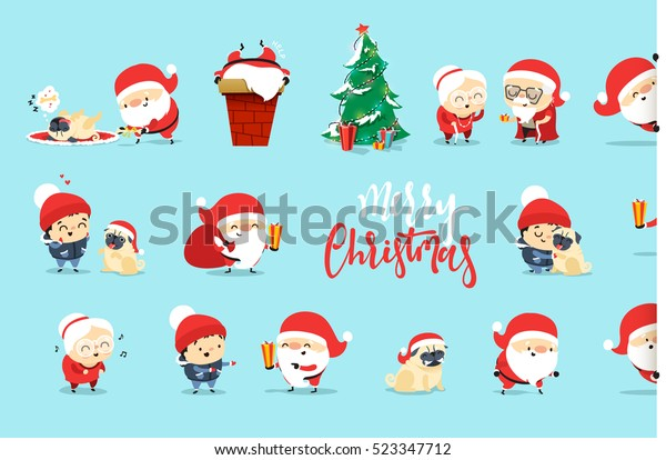 Holiday Pets Picture with Santa Claus Christmas Clipart