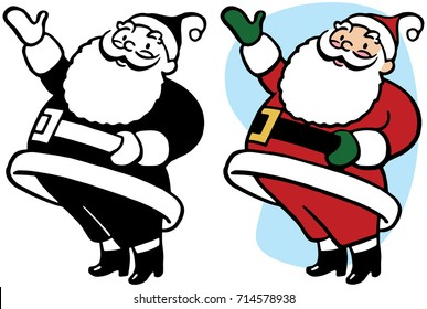Santa Claus gestures and points towards something interesting.