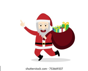 Santa claus with gift bag in flat style, vector cartoon