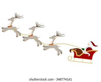 Santa Claus with gift bag and reindeer sled Christmas