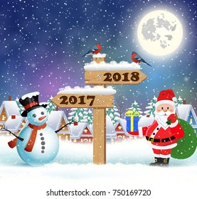 Santa Claus with gift bag and snowman and wooden sign showing the way to 2018 against the the winter country landscape. Christmas and New Year greeting card.
