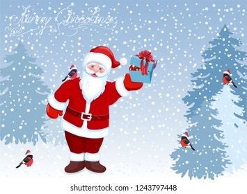 Сartoon Santa Claus with gift box with Christmas balls in his hand and bullfinch on his shoulder. New Years winter landscape with forest firs.