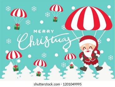 santa claus with gift parachute for christmas celebration illustration background vector