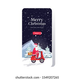 santa claus with gift present boxes riding vintage scooter merry christmas happy new year holiday celebration concept smartphone screen online mobile app greeting card full length vector illustration