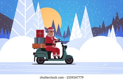santa claus with gift present boxes riding delivery scooter merry christmas happy new year winter holidays celebration concept night forest full moon landscape background horizontal flat vector