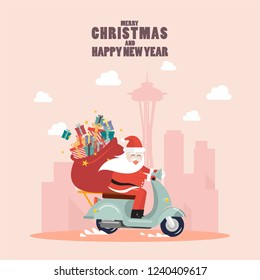 Santa Claus with a gift sack riding a scooter in big city. Vector illustration