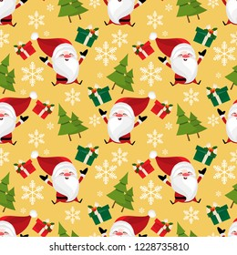 Santa claus with giftbox , snowflakes and pine tree seamless pattern. Cute Christmas holidays cartoon character background.