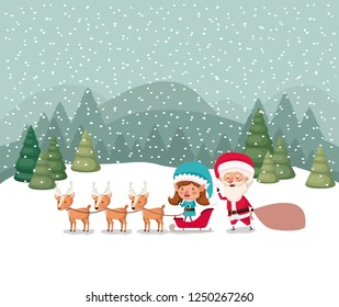 santa claus and girl helper with sled and reindeer