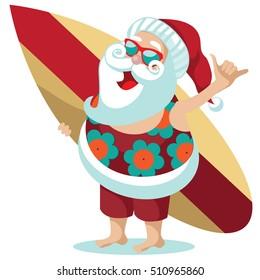 Santa Claus giving the Hang loose hand sign for Christmas in his aloha shirt. EPS 10 vector.