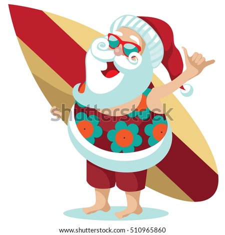 2dd344778 Santa Claus giving the Hang loose hand sign for Christmas in his aloha shirt.  EPS