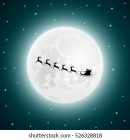 Santa Claus goes to sled reindeer in the background of the moon