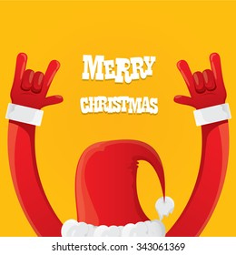 Santa Claus hand rock n roll icon vector illustration. Christmas Rock concert poster design template or greeting card