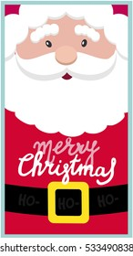 Santa Claus and handmade lettering Merry Christmas on the beard. Vector illustration. Happy new year and Merry Christmas