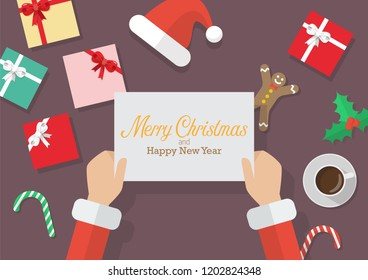 Santa Claus hands holding a Merry Christmas and Happy new year sign with Christmas decoration. Vector illustration