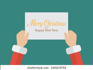 Santa Claus hands holding a Merry Christmas and Happy new year sign. Vector illustration