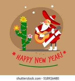 Santa Claus, Happy New Year Mexican. Vector illustration