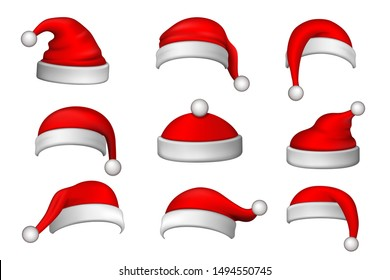 Santa Claus hat 3D set. Realistic Santa Claus hat isolated on white background. Red funny cap silhouette. Merry Christmas clothes cute design. New year decoration wear costume Vector illustration