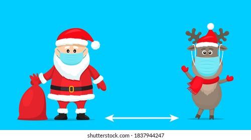 Santa Claus in einem Hut mit einer Tüte Geschenke und einem polaren Hirsch in einem roten Schal im Cartoon-Stil. soziales Distanzierungskonzept wegen Covid 19. bleiben Sie zu Hause. Vektorgrafik
