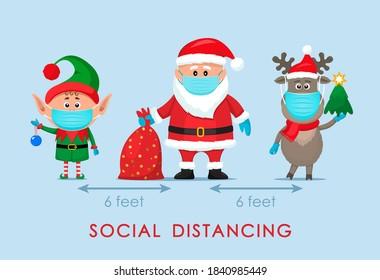 Santa Claus in einem Hut mit einer Tüte Geschenke, einem Elf und einem Polar Hirsch in einem roten Schal im Cartoon-Stil. soziales Distanzierungskonzept aufgrund von Covid 19. bleiben Sie zu Hause für Winterferien. Vektorgrafik