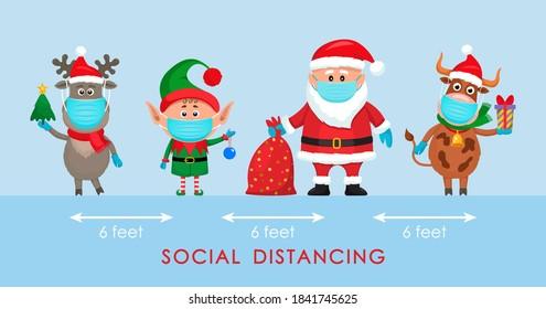 Der Weihnachtsmann in einem Hut mit einer Tüte Geschenke, einem Elf und einem polaren Hirsch in einem roten Schal und einem Stier mit einem Geschenk im Cartoon-Stil. soziales Distanzierungskonzept aufgrund von Covid 19. bleiben Sie zu Hause für die Winterferien.