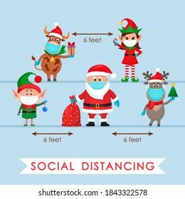 Der Weihnachtsmann in einem Hut mit einer Tüte Geschenke, einem Elf und einem polaren Hirsch in einem roten Schal und einem Stier mit einem Geschenk in einem Cartoon-Stil und einem Elfenmädchen. soziales Distanzierungskonzept aufgrund von Covid 19. Wohnheim
