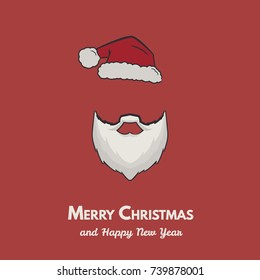 Santa claus hat and beard. Merry Christmas card vector.
