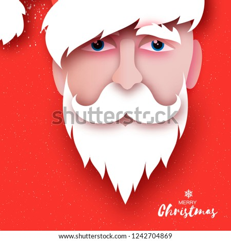 0e74e518a76 Santa Claus hat and beard in paper cut style. Origami Merry Christmas and  Happy New
