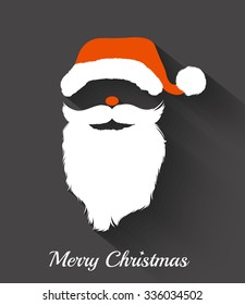 Santa Claus hat and beard template .Christmas Retro Santa Card - in vector