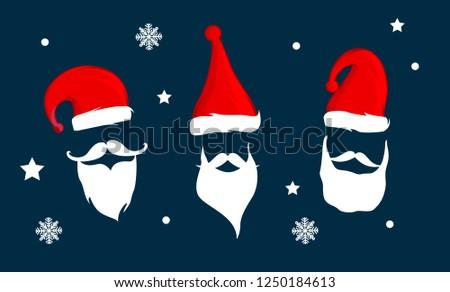 0784566551d8c Santa Claus Hat Beard Vector Illustration Stock Vector (Royalty Free ...