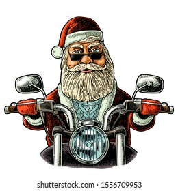 Santa Claus in hat, coat, sweater, glasses riding a classic chopper bike. Front view. Vector vintage color engraving illustration isolated on white. For poster New Year and Merry Christmas biker club