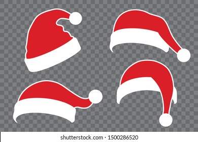 Santa Claus hat flat set. Realistic Santa Claus hat isolated transparent background. Red funny cap silhouette. Merry Christmas clothes cartoon design. New year decoration costume Vector illustration