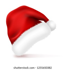 Santa Claus Hat with Fur Isolated on white background. New Year Christmas red Winter Cap. Vector illustration.