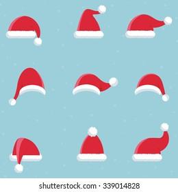Santa Claus hat icons, vector