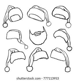 Santa Claus hat illustration, drawing, engraving, ink, line art, vector