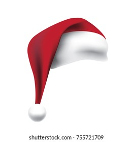 Santa Claus hat isolated on white background. EPS 10 vector.