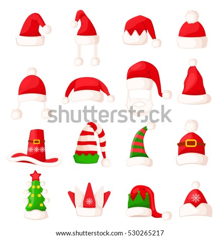 8af628615904e Santa Claus hat set isolated. Big collection of winter fur woolen hat.  Father Christmas hats of different shapes. Flat icon winter snowboard caps  elf ...