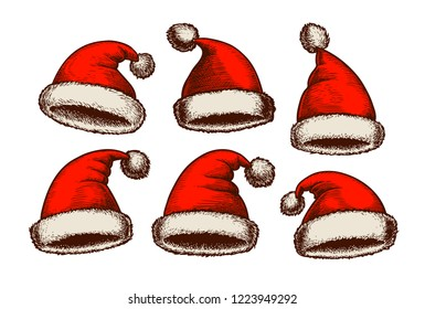 Santa Claus hat, vintage. Christmas sketch. Vector illustration