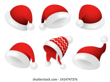 Santa Claus hats illustration set. Red festive caps with white fur. Christmas concept. Realistic vector illustration can be used for topics like holiday, party, costume