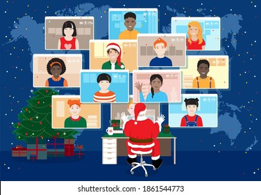 Santa Claus have online video meeting celebrating Christmas with kids all around the world. Diverse cheerful smiling children, boys, girls in computer screens at world map background. Vector banner