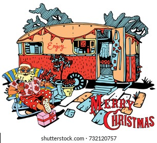 Santa Claus Have a Rest. Caravan Christmas. Happy New Year and Christmas Card Design. Holiday Theme.