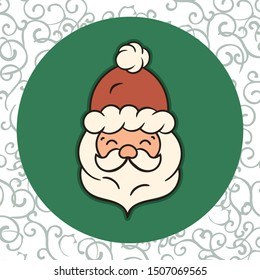 Santa Claus head in Christmas red hat with pompon isolated on green background. Merry Christmas and Happy New Year traditional style. Simple minimal flat design for print. Main character of Christmas.