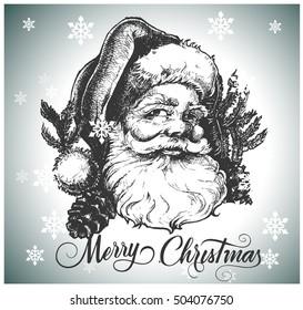 Santa Claus head. Hand drawn illustration