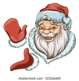 Santa Claus Head and two hands in red mittens. Isolated on white vector cartoon illustration