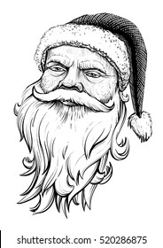 Santa Claus head. Vector illustration portrait. Line art, engraving texture.