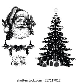 Santa Claus head..Christmas tree illustration
