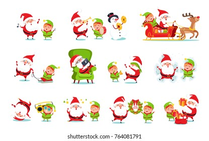 Santa Claus and helper activities, reindeer and sleigh with present, song and music, happiness and good emotions, isolated on vector illustration