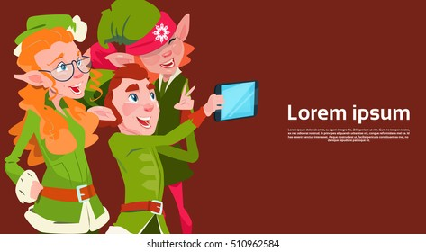 Santa Claus Helper Green Elf Group Making Selfie Photo, New Year Christmas Holiday Greeting Card Flat Vector Illustration