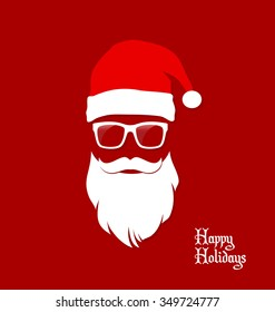 Santa Claus Hipster , Party, Greeting Card, Banner, Sticker, Hipster Style. Geek.