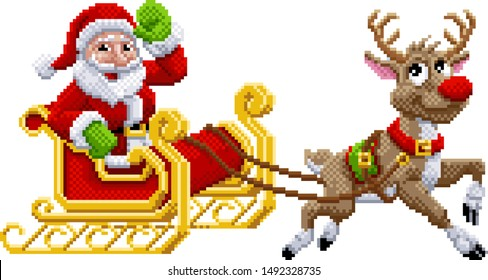 Santa Claus and his Christmas reindeer sleigh in an 8 bit pixel art video game style