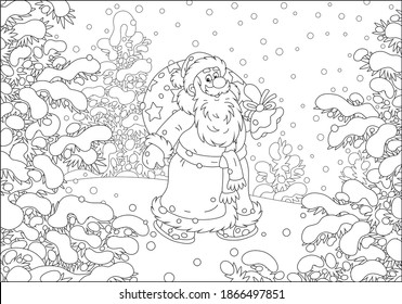 Santa Claus with his magic bag of holiday gifts walking in hurry through a snow-covered winter forest on a cold snowy day, black and white outline vector cartoon illustration